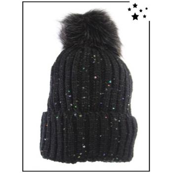 Bonnet doublé polaire - Sequins - Noir - DM22712