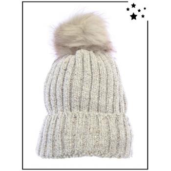 Bonnet doublé polaire - Sequins - Beige - DM22712