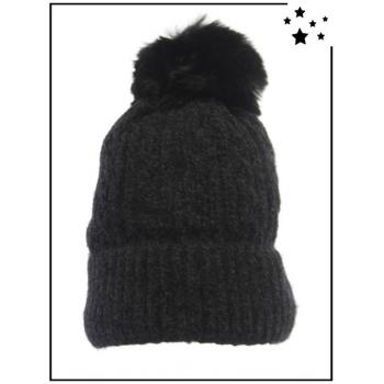 Bonnet ultra doux - Doublé polaire - Noir - DM2425