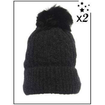 Bonnet ultra doux x2 - Doublé polaire - Noir - DM2425