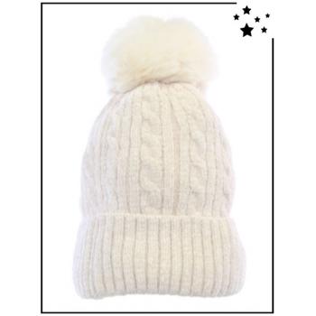 Bonnet ultra doux - Doublé polaire - Ecru - DM2425