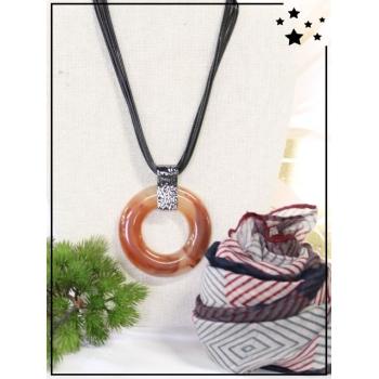 Collier + foulard offert - Cercle résine - Camaieu - Orange