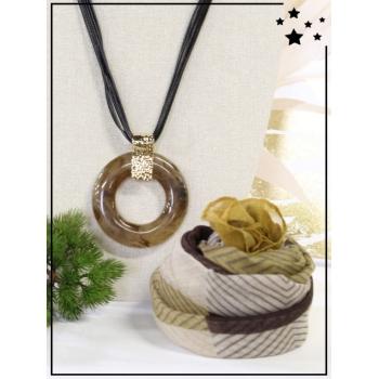 Collier + foulard offert - Cerclé résine - Camaieu - Chocolat