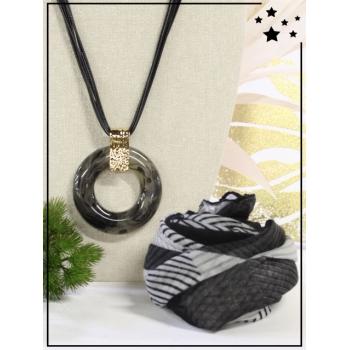 Collier + foulard offert - Cercle résine - Camaieu - Noir