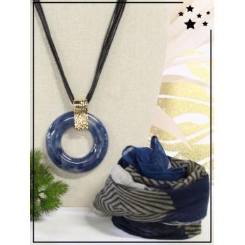 Collier + foulard offert - Cercle résine - Camaieu - Bleu