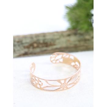 Bracelet jonc - Fleurs - Cuivré