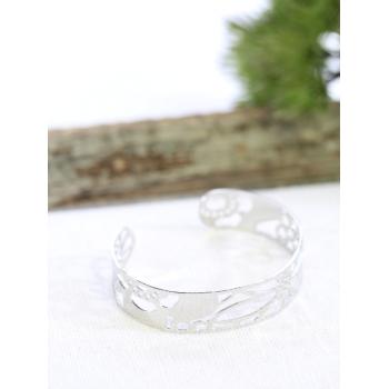 Bracelet jonc - Fleurs - Argenté