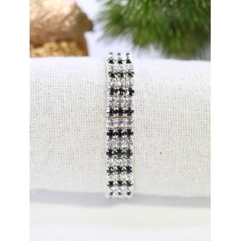 Bracelet strass - 3 rangs - Noir et blanc