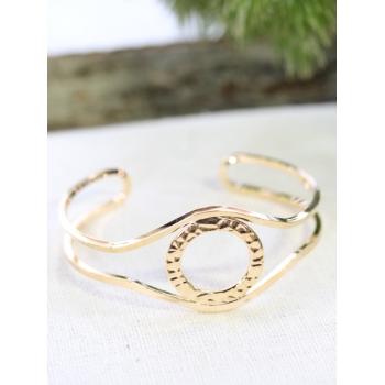 Bracelet jonc - Cercle effet martelé - Doré