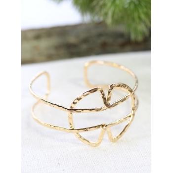Bracelet jonc - Formes croisées - Doré