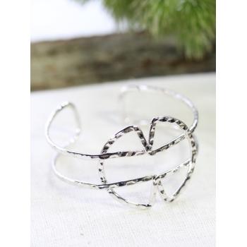 Bracelet jonc - Formes croisées - Argenté