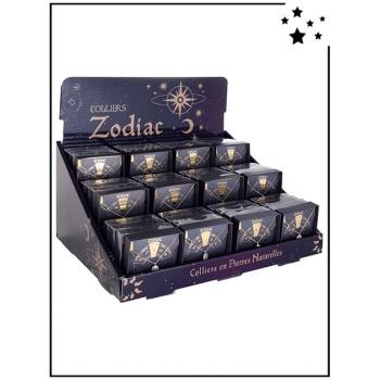 Colliers Zodiac - Pierres naturelles - Présentoir x48