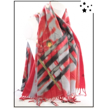 Echarpe - Rayures et boutons - Rouge - F635