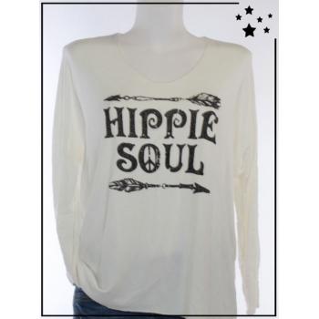 """Pull TU - """"Hippie Soul"""" - Pailleté - Blanc"""