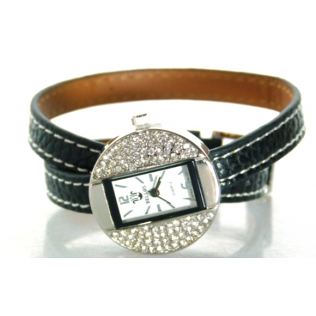 Montre Double-Tour Strass Touché Cuir Ylona