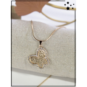 Collier - Papillon - Tour strass - Doré