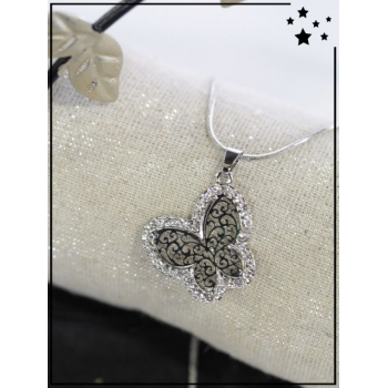 Collier - Papillon - Tour strass - Argenté