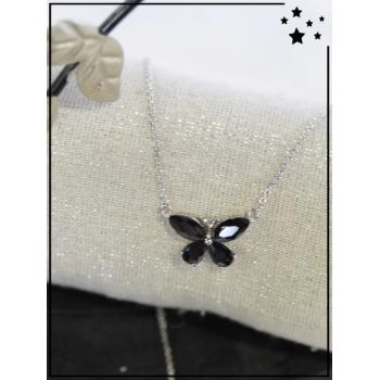 Collier - Papillon strass - Noir et argenté