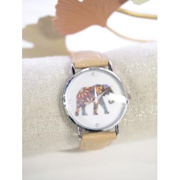 Montre fantaisie - Eléphant - Beige