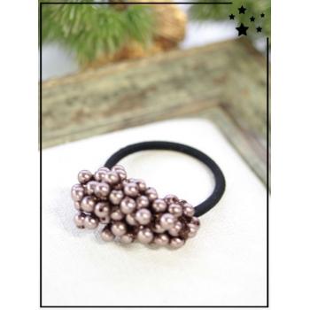 Elastique - Petites perles - Taupe