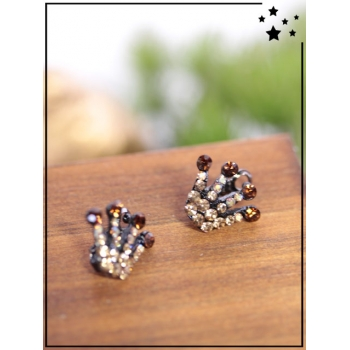Petites barrettes - Couronne - Strass - Choco