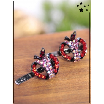Petites barrettes - Pomme - Strass - Rouge