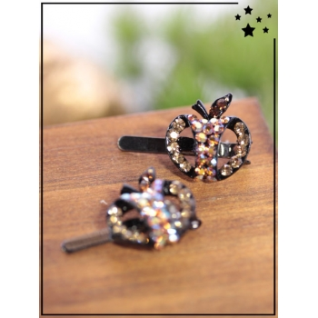 Petites barrettes - Pomme - Strass - Choco