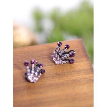 Petites barrettes - Couronne - Strass - Violet