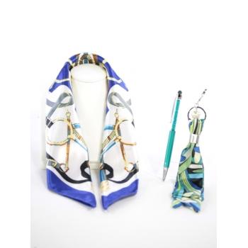 Cocco Box - Carré de soie, bijou de sac et stylo crystal - Bleu électrique