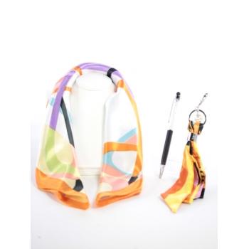 Cocco Box - Carré de soie, bijou de sac et stylo crystal - Orange