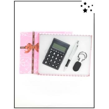 Coffret cadeau - Calculatrice, stylo et porte-clé - Noir