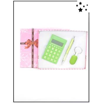 Coffret cadeau - Calculatrice, stylo et porte-clé - Vert