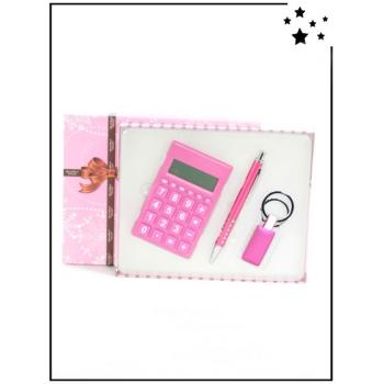 Coffret cadeau - Calculatrice, stylo et porte-clé - Rose