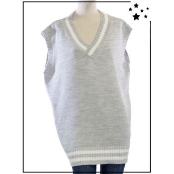 TU - Pull sans manches oversize - Style College - Gris clair