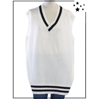 TU - Pull sans manches oversize - Style College - Blanc