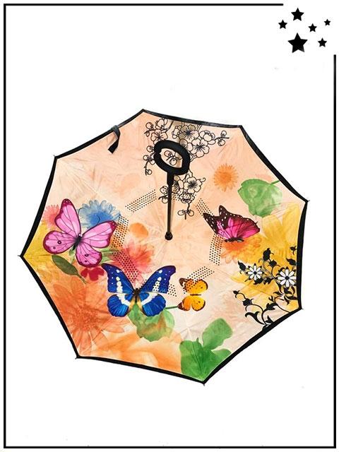 ETGeed Parapluie invers/é Papillon Petite Fleur Rouge Parapluie invers/é
