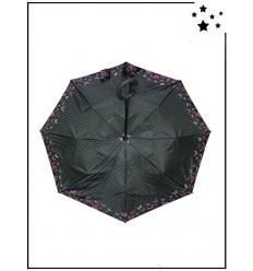 Parapluie inversé - Bordure papillons et pois - Noir