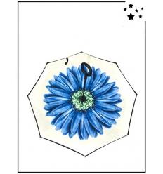 Parapluie inversé - Grande fleur - Blanc et bleu