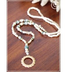 Sautoir - Perles et cercle doré - Beige et émeraude