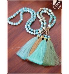 Sautoir - Perles et pampille - Bleu pastel