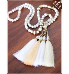 Sautoir - Perles et pampille - Blanc