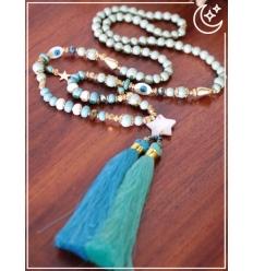 Sautoir - Etoiles et pampilles - Bleu et turquoise