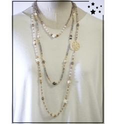 Sautoir - Perles - 3 rangs - Blanc et gris