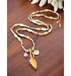 Sautoir - Perles et pendentif ethnique - Soleil