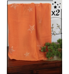 Foulard touches brillantes x2 - Etoile - Orange