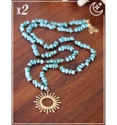 Sautoir x2 - Perles et soleil - Turquoise