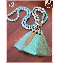 Sautoir x2 - Perles et pampille - Bleu pastel