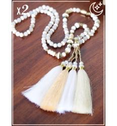 Sautoir x2 - Perles et pampille - Blanc