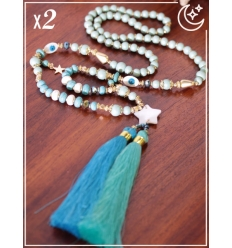 Sautoir x2 - Etoiles et pampilles - Bleu et turquoise
