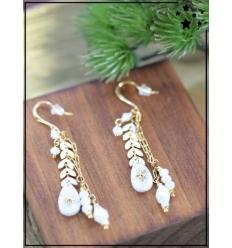 Boucles d'oreilles - Pendante - Laurier et pierre blanche - Doré